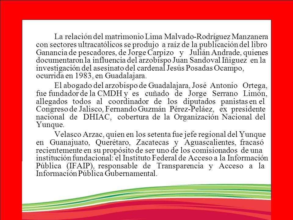 La relación del matrimonio Lima Malvado-Rodríguez Manzanera con sectores ultracatólicos se produjo a raíz de la publicación del libro Ganancia de pesc