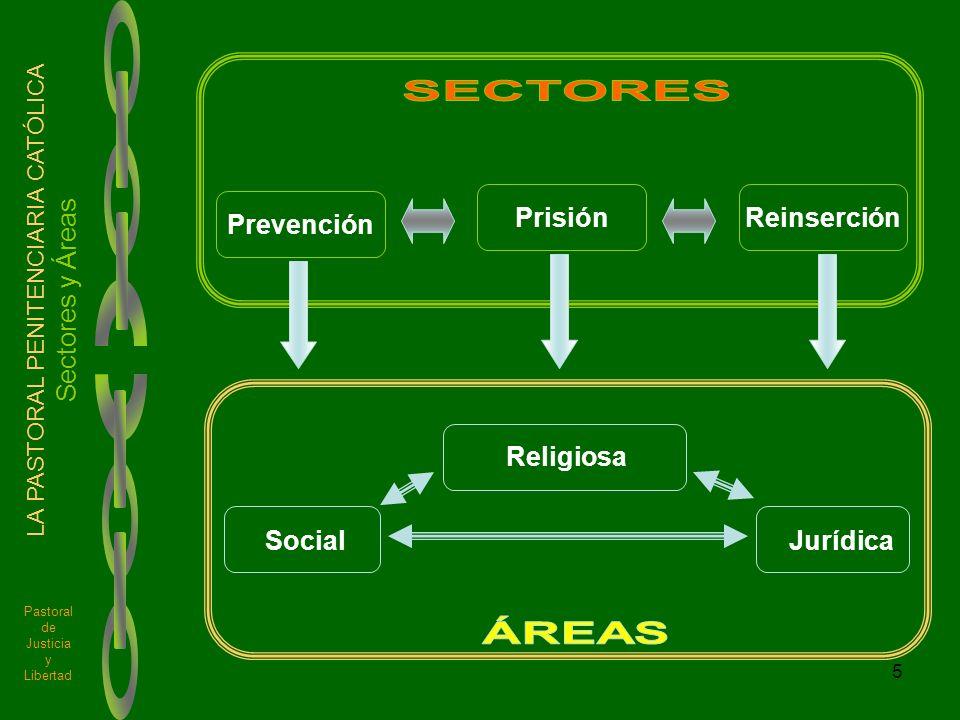 5 Pastoral de Justicia y Libertad LA PASTORAL PENITENCIARIA CATÓLICA Sectores y Áreas Prevención PrisiónReinserción Social Religiosa Jurídica