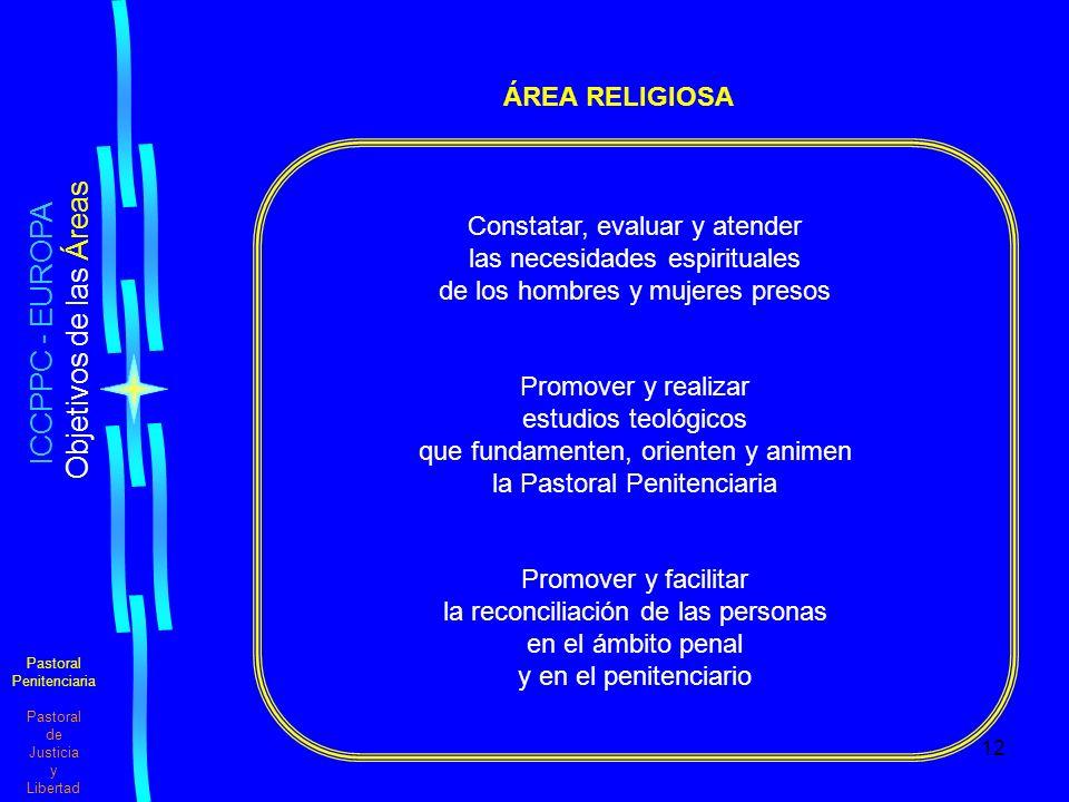 12 Pastoral Penitenciaria Pastoral de Justicia y Libertad ICCPPC - EUROPA Objetivos de las Áreas ÁREA RELIGIOSA Constatar, evaluar y atender las necesidades espirituales de los hombres y mujeres presos Promover y realizar estudios teológicos que fundamenten, orienten y animen la Pastoral Penitenciaria Promover y facilitar la reconciliación de las personas en el ámbito penal y en el penitenciario