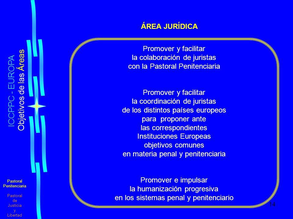 14 Pastoral Penitenciaria Pastoral de Justicia y Libertad ICCPPC - EUROPA Objetivos de las Áreas ÁREA JURÍDICA Promover y facilitar la colaboración de juristas con la Pastoral Penitenciaria Promover y facilitar la coordinación de juristas de los distintos países europeos para proponer ante las correspondientes Instituciones Europeas objetivos comunes en materia penal y penitenciaria Promover e impulsar la humanización progresiva en los sistemas penal y penitenciario