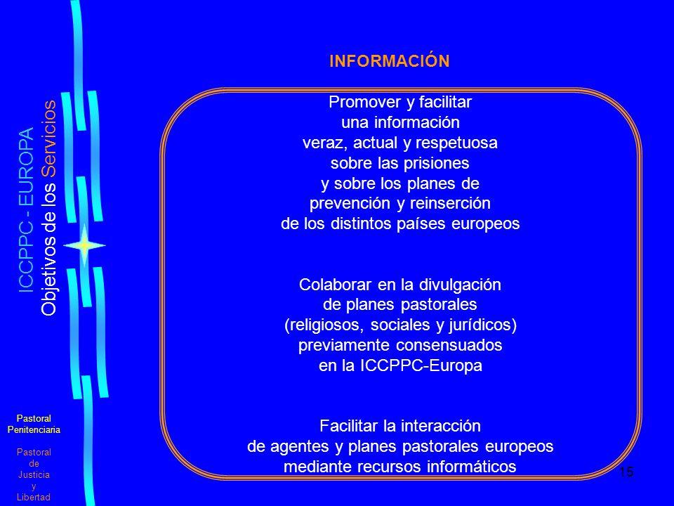 15 Pastoral Penitenciaria Pastoral de Justicia y Libertad ICCPPC - EUROPA Objetivos de los Servicios INFORMACIÓN Promover y facilitar una información veraz, actual y respetuosa sobre las prisiones y sobre los planes de prevención y reinserción de los distintos países europeos Colaborar en la divulgación de planes pastorales (religiosos, sociales y jurídicos) previamente consensuados en la ICCPPC-Europa Facilitar la interacción de agentes y planes pastorales europeos mediante recursos informáticos