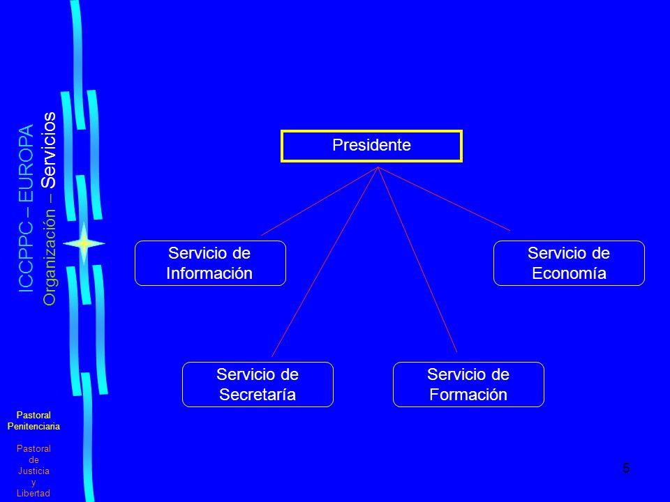 5 Pastoral Penitenciaria Pastoral de Justicia y Libertad ICCPPC – EUROPA Organización – Servicios Servicio de Información Servicio de Secretaría Servicio de Economía Servicio de Formación Presidente