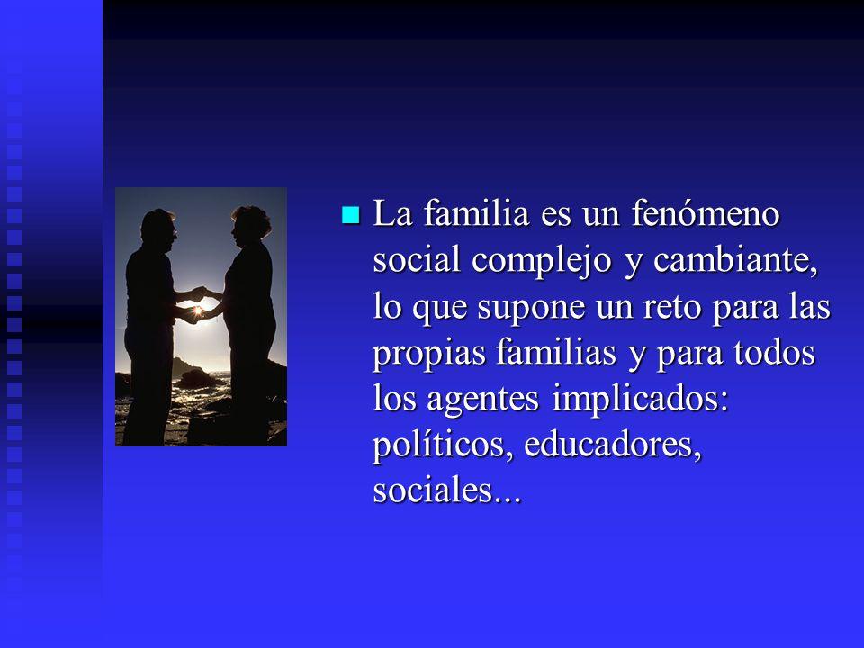 La familia es un fenómeno social complejo y cambiante, lo que supone un reto para las propias familias y para todos los agentes implicados: políticos,