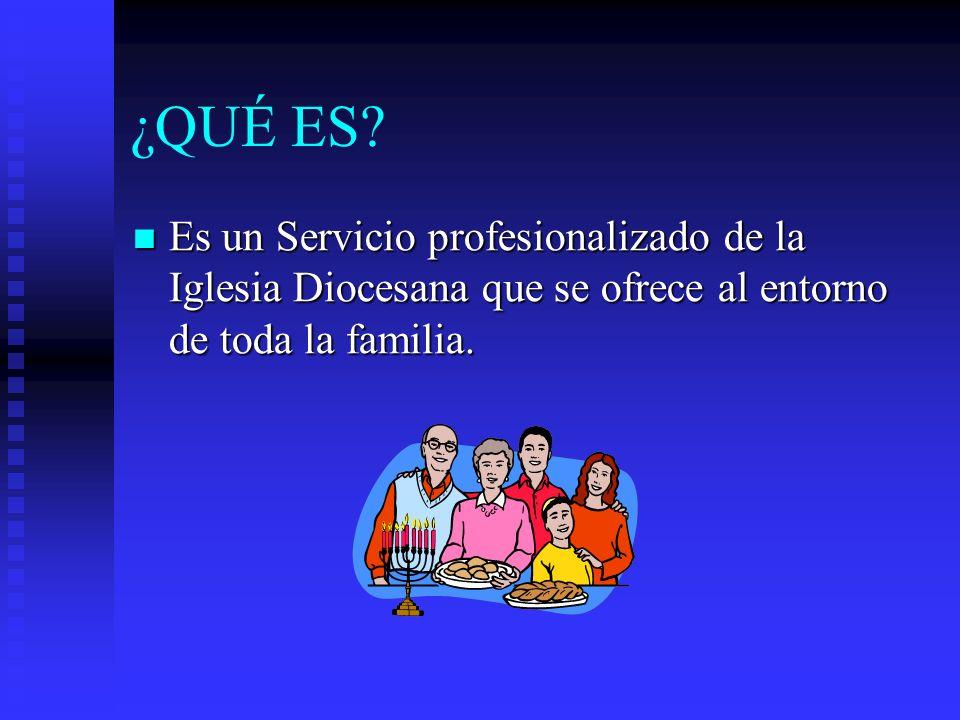 ¿QUÉ ES? Es un Servicio profesionalizado de la Iglesia Diocesana que se ofrece al entorno de toda la familia. Es un Servicio profesionalizado de la Ig