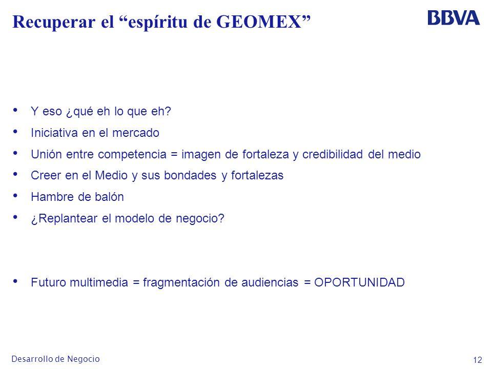 12 Desarrollo de Negocio Recuperar el espíritu de GEOMEX Y eso ¿qué eh lo que eh.