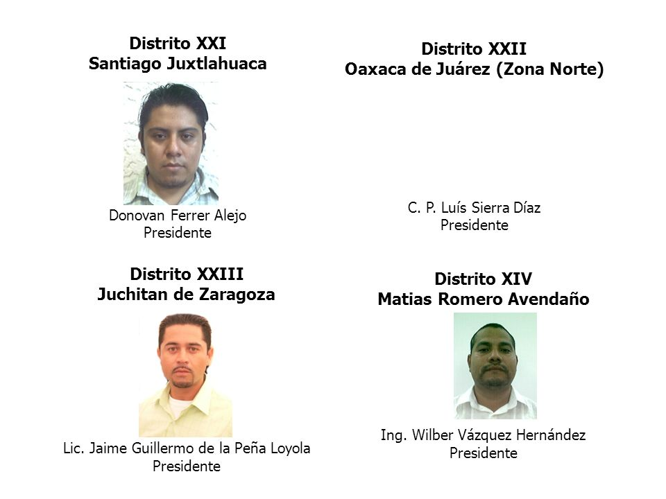 Distrito XXII Oaxaca de Juárez (Zona Norte) C. P. Luís Sierra Díaz Presidente Distrito XXIII Juchitan de Zaragoza Lic. Jaime Guillermo de la Peña Loyo