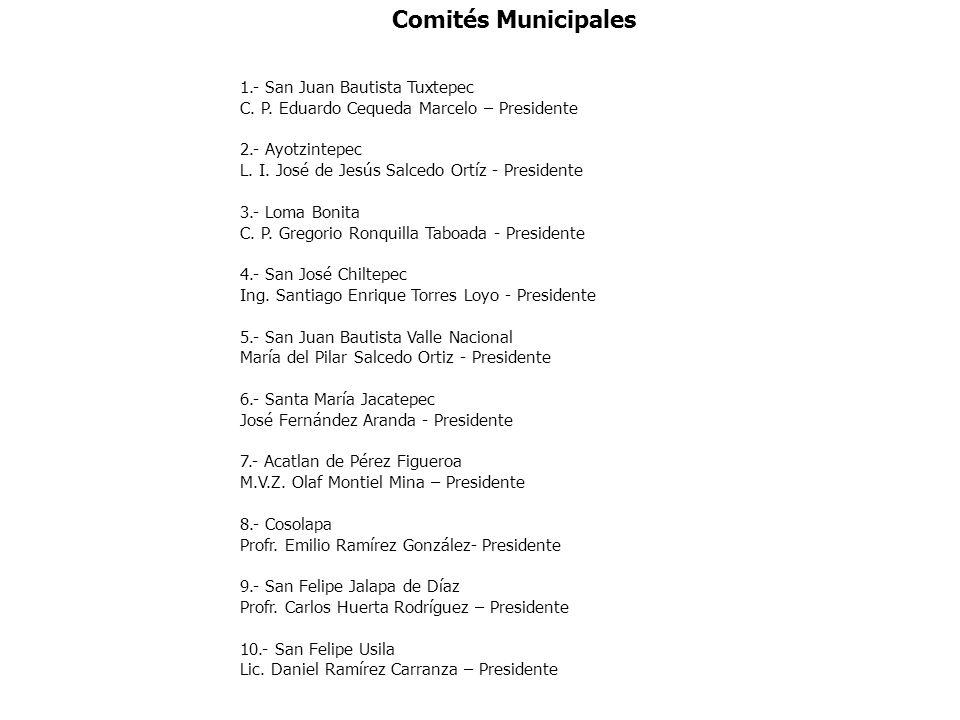 Comités Municipales 1.- San Juan Bautista Tuxtepec C. P. Eduardo Cequeda Marcelo – Presidente 2.- Ayotzintepec L. I. José de Jesús Salcedo Ortíz - Pre