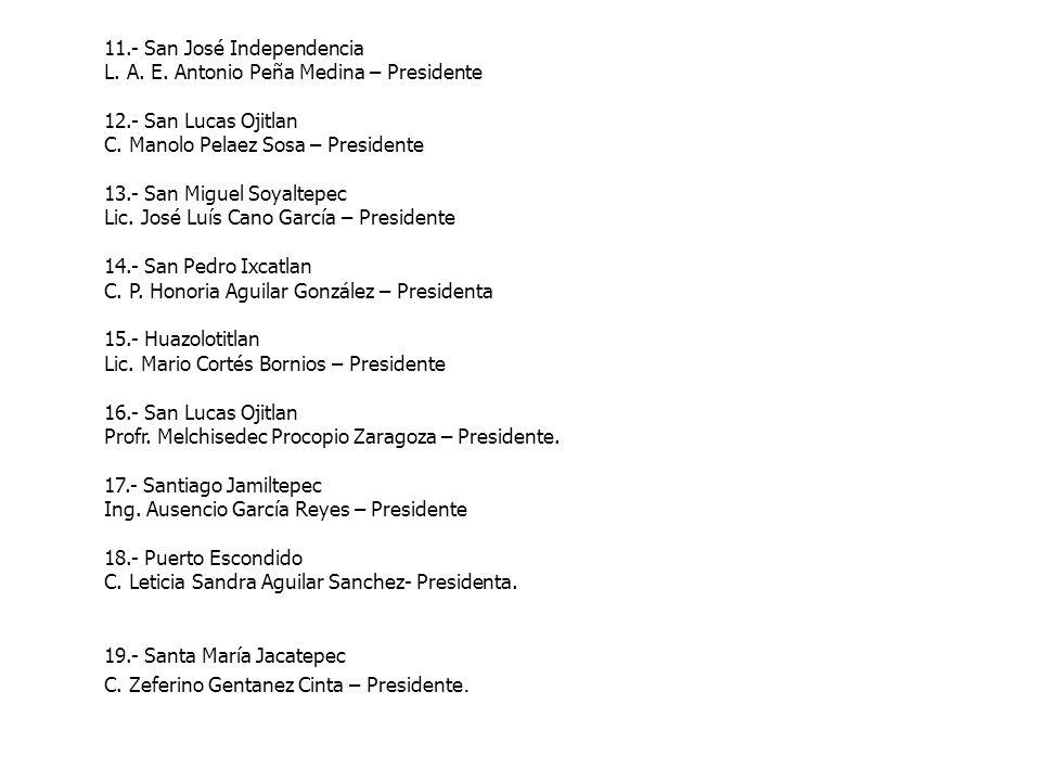 11.- San José Independencia L. A. E. Antonio Peña Medina – Presidente 12.- San Lucas Ojitlan C. Manolo Pelaez Sosa – Presidente 13.- San Miguel Soyalt