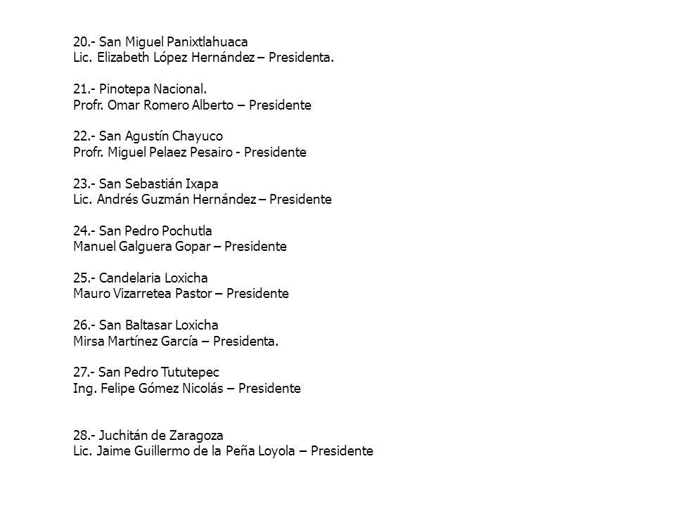 20.- San Miguel Panixtlahuaca Lic. Elizabeth López Hernández – Presidenta. 21.- Pinotepa Nacional. Profr. Omar Romero Alberto – Presidente 22.- San Ag
