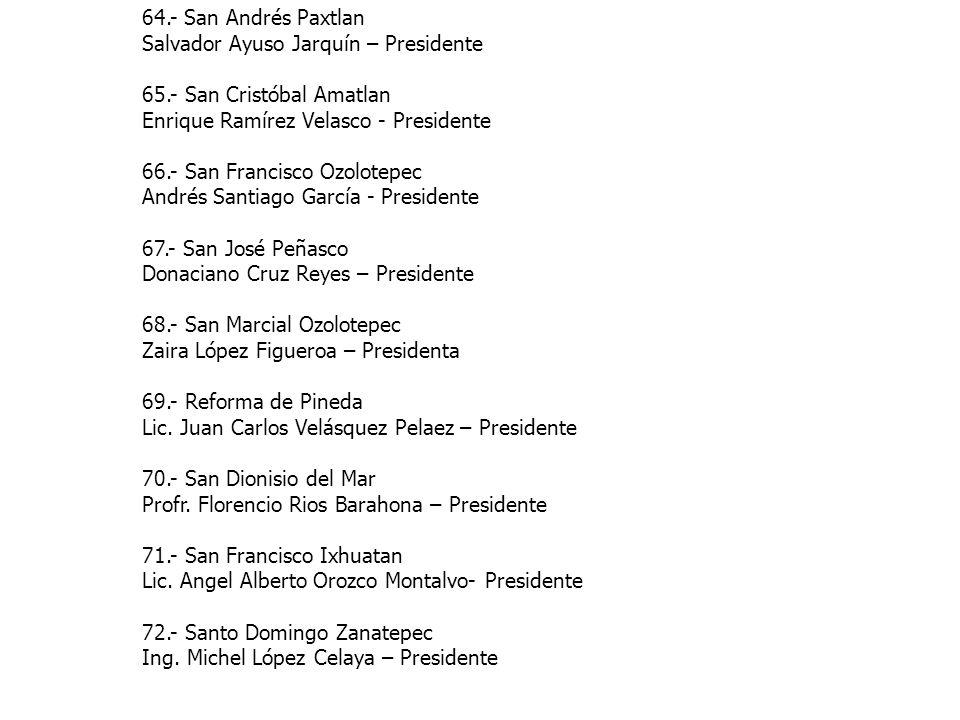 64.- San Andrés Paxtlan Salvador Ayuso Jarquín – Presidente 65.- San Cristóbal Amatlan Enrique Ramírez Velasco - Presidente 66.- San Francisco Ozolote
