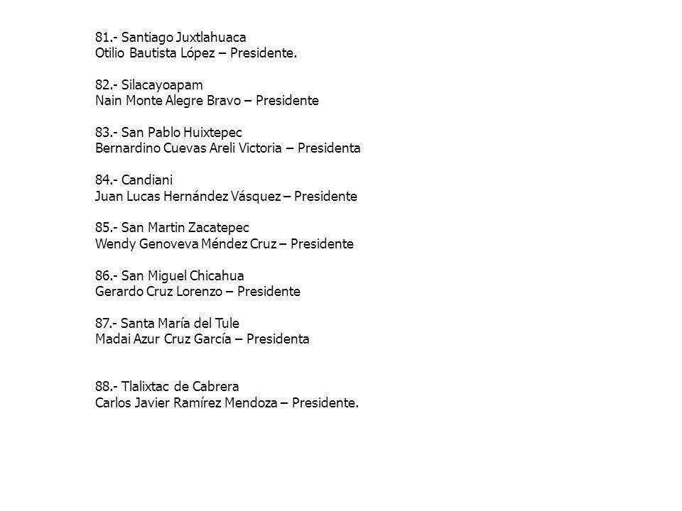81.- Santiago Juxtlahuaca Otilio Bautista López – Presidente. 82.- Silacayoapam Nain Monte Alegre Bravo – Presidente 83.- San Pablo Huixtepec Bernardi