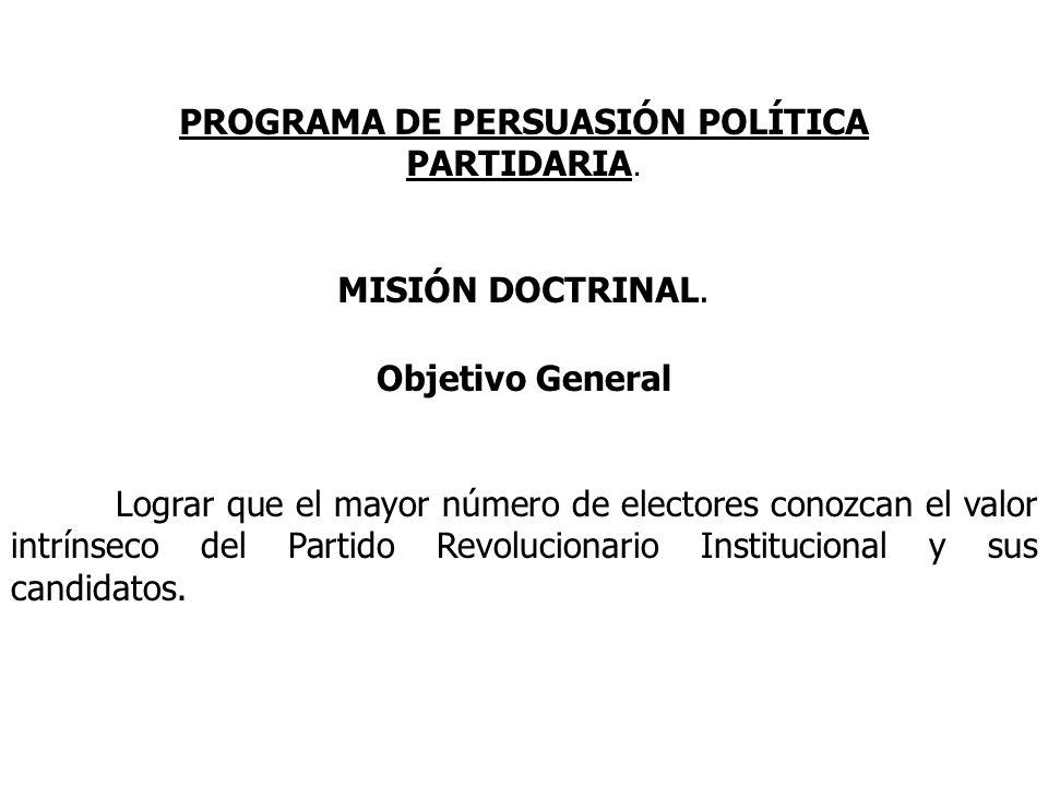 Objetivo General Lograr que el mayor número de electores conozcan el valor intrínseco del Partido Revolucionario Institucional y sus candidatos. PROGR