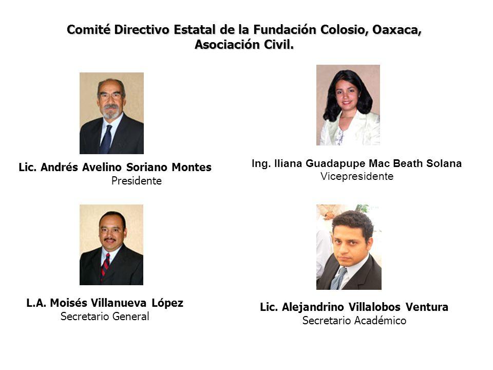 Comité Directivo Estatal de la Fundación Colosio, Oaxaca, Asociación Civil. Lic. Andrés Avelino Soriano Montes Presidente Ing. Iliana Guadapupe Mac Be