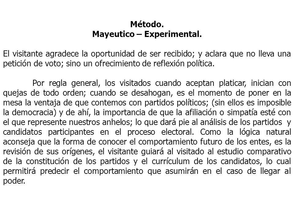 Método. Mayeutico – Experimental. El visitante agradece la oportunidad de ser recibido; y aclara que no lleva una petición de voto; sino un ofrecimien