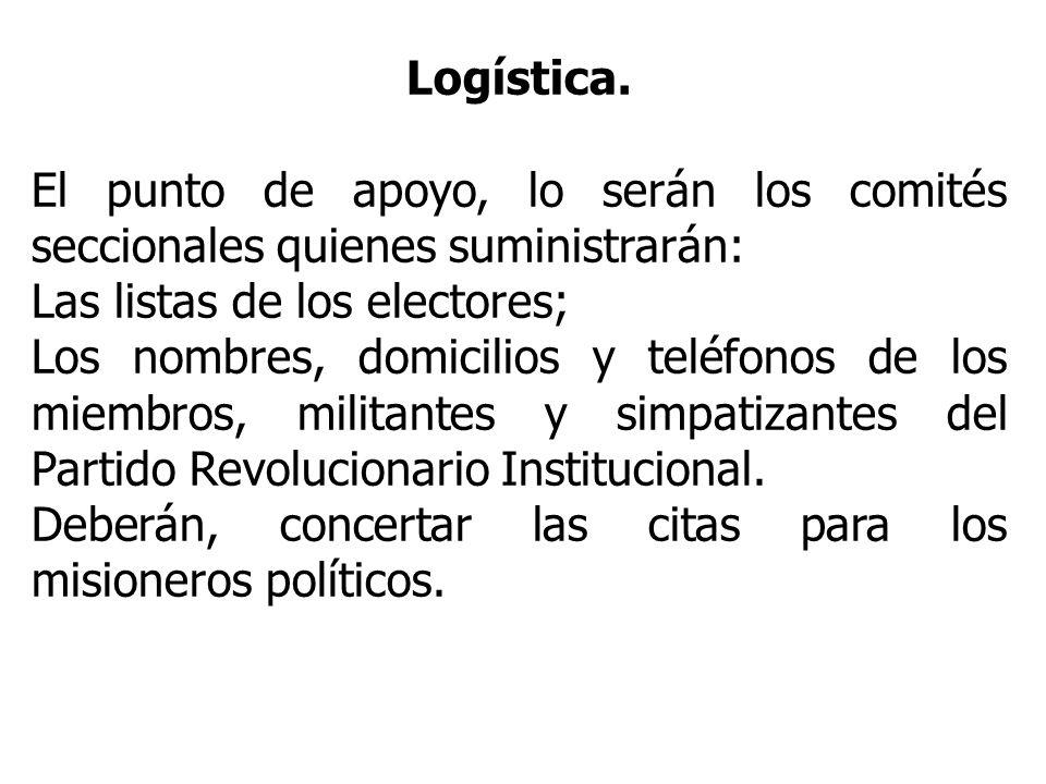 Logística. El punto de apoyo, lo serán los comités seccionales quienes suministrarán: Las listas de los electores; Los nombres, domicilios y teléfonos