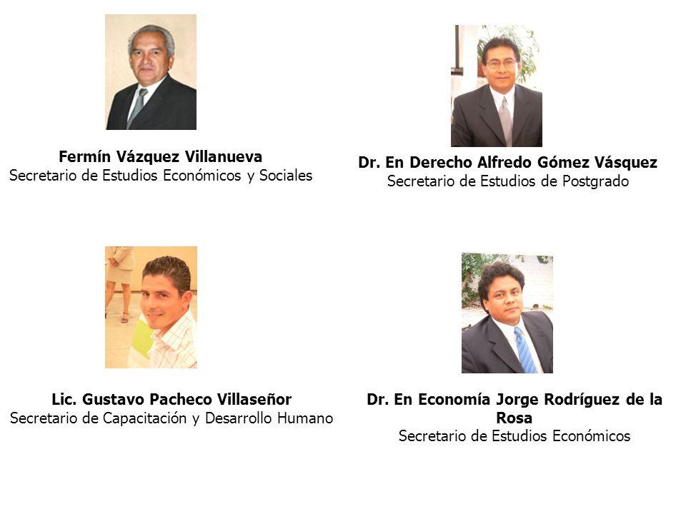 Dr. En Derecho Alfredo Gómez Vásquez Secretario de Estudios de Postgrado Lic. Gustavo Pacheco Villaseñor Secretario de Capacitación y Desarrollo Human