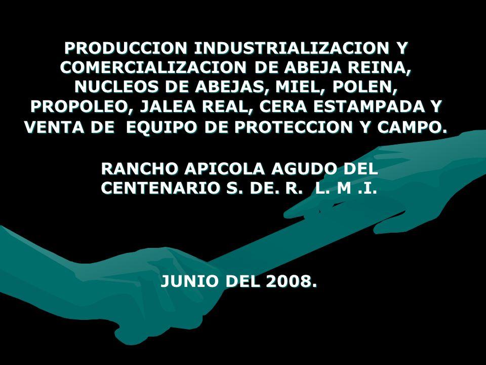 PRODUCCION INDUSTRIALIZACION Y COMERCIALIZACION DE ABEJA REINA, NUCLEOS DE ABEJAS, MIEL, POLEN, PROPOLEO, JALEA REAL, CERA ESTAMPADA Y VENTA DE EQUIPO