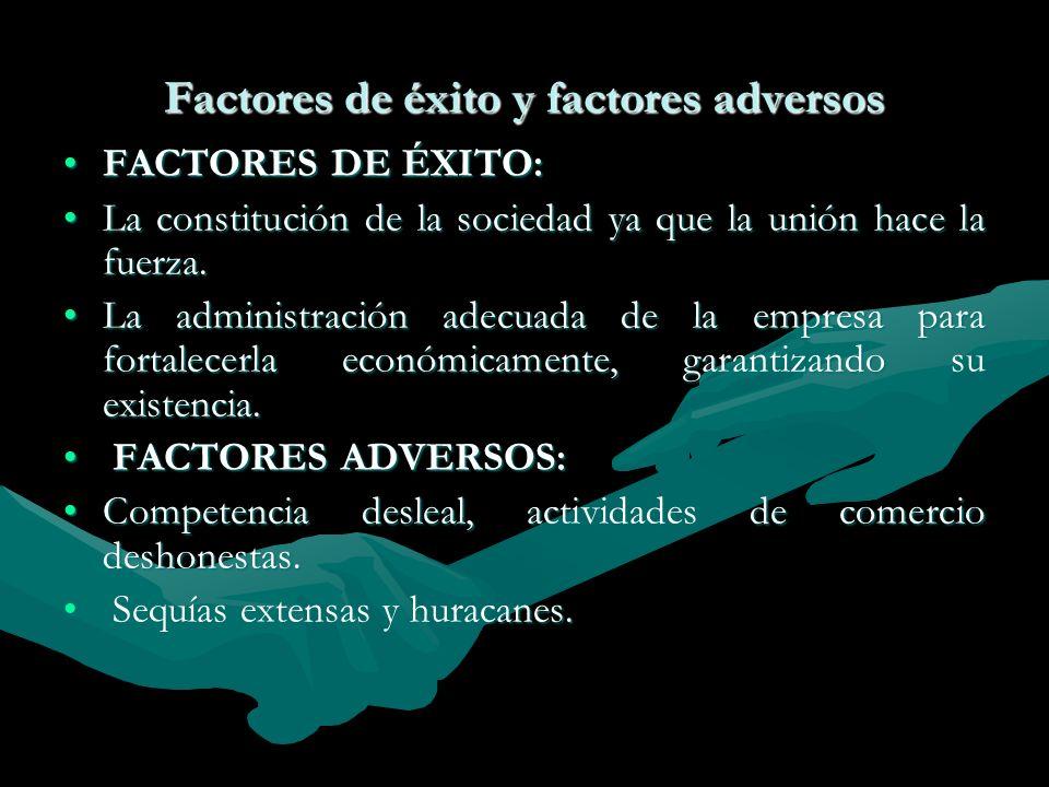 Factores de éxito y factores adversos FACTORES DE ÉXITO:FACTORES DE ÉXITO: La constitución de la sociedad ya que la unión hace la fuerza.La constituci