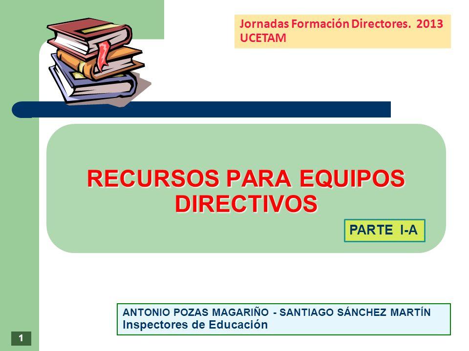 RECURSOS PARA EQUIPOS DIRECTIVOS RECURSOS PARA EQUIPOS DIRECTIVOS ANTONIO POZAS MAGARIÑO - SANTIAGO SÁNCHEZ MARTÍN Inspectores de Educación Jornadas F
