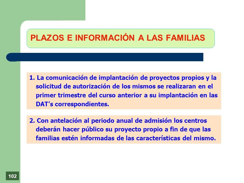 PLAZOS E INFORMACIÓN A LAS FAMILIAS 1. La comunicación de implantación de proyectos propios y la solicitud de autorización de los mismos se realizaran