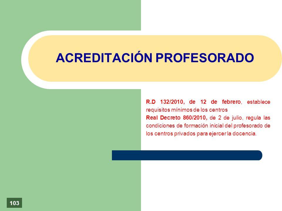 ACREDITACIÓN PROFESORADO R.D 132/2010, de 12 de febrero, establece requisitos mínimos de los centros Real Decreto 860/2010, de 2 de julio, regula las