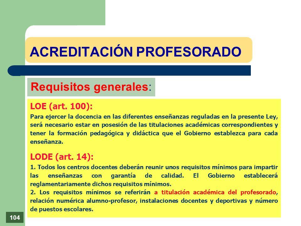 ACREDITACIÓN PROFESORADO Requisitos generales: LOE (art. 100): Para ejercer la docencia en las diferentes enseñanzas reguladas en la presente Ley, ser
