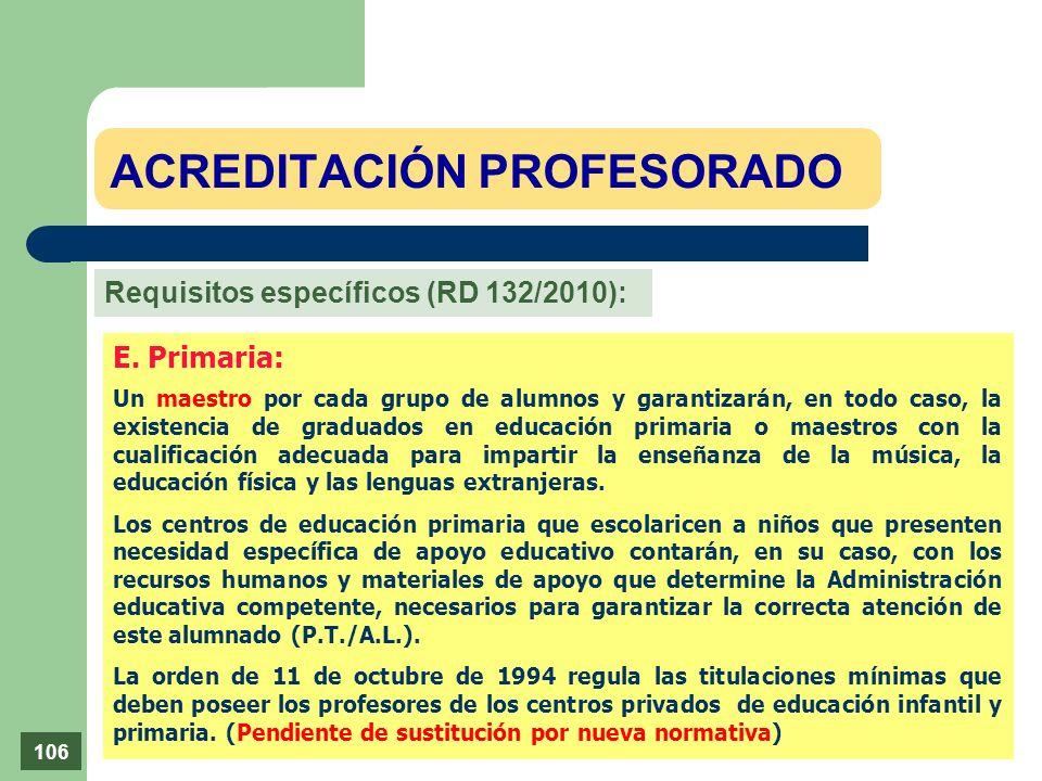E. Primaria: Un maestro por cada grupo de alumnos y garantizarán, en todo caso, la existencia de graduados en educación primaria o maestros con la cua