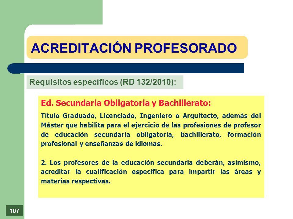 Ed. Secundaria Obligatoria y Bachillerato: Título Graduado, Licenciado, Ingeniero o Arquitecto, además del Máster que habilita para el ejercicio de la