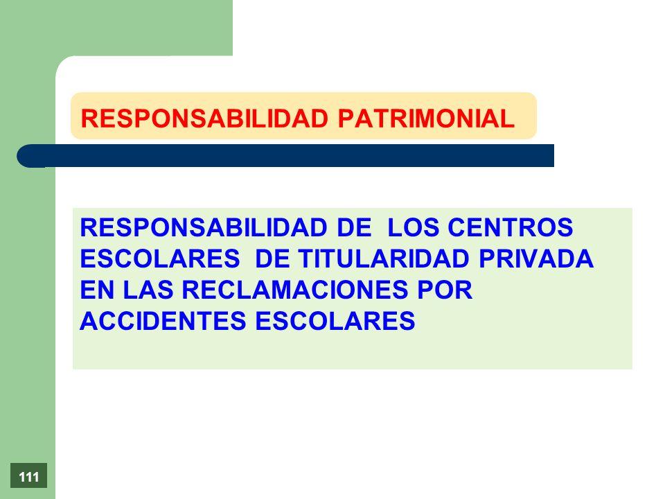 RESPONSABILIDAD DE LOS CENTROS ESCOLARES DE TITULARIDAD PRIVADA EN LAS RECLAMACIONES POR ACCIDENTES ESCOLARES RESPONSABILIDAD PATRIMONIAL 111