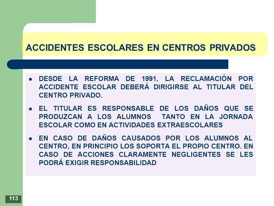 ACCIDENTES ESCOLARES EN CENTROS PRIVADOS DESDE LA REFORMA DE 1991, LA RECLAMACIÓN POR ACCIDENTE ESCOLAR DEBERÁ DIRIGIRSE AL TITULAR DEL CENTRO PRIVADO