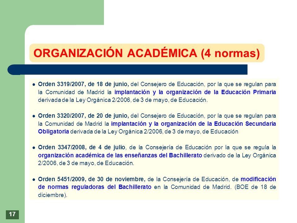 Orden 3319/2007, de 18 de junio, del Consejero de Educación, por la que se regulan para la Comunidad de Madrid la implantación y la organización de la