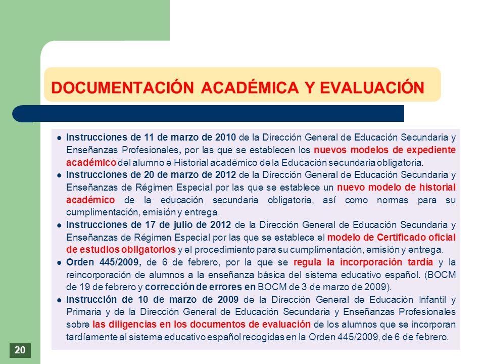 Instrucciones de 11 de marzo de 2010 de la Dirección General de Educación Secundaria y Enseñanzas Profesionales, por las que se establecen los nuevos