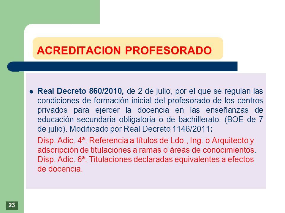 Real Decreto 860/2010, de 2 de julio, por el que se regulan las condiciones de formación inicial del profesorado de los centros privados para ejercer