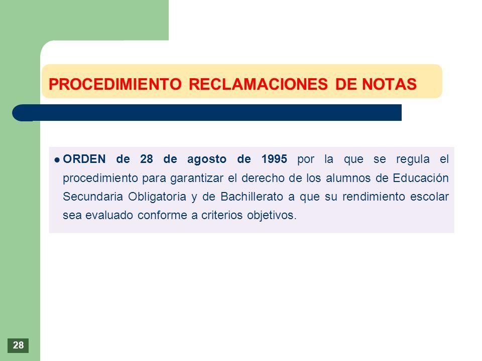 ORDEN de 28 de agosto de 1995 por la que se regula el procedimiento para garantizar el derecho de los alumnos de Educación Secundaria Obligatoria y de