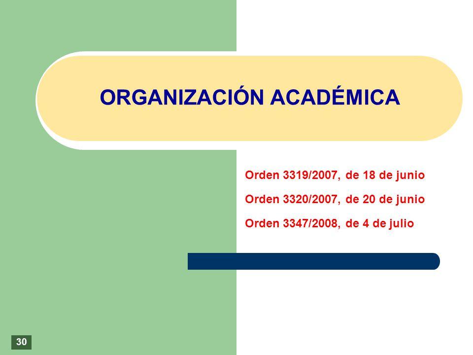 ORGANIZACIÓN ACADÉMICA Orden 3319/2007, de 18 de junio Orden 3320/2007, de 20 de junio Orden 3347/2008, de 4 de julio 30