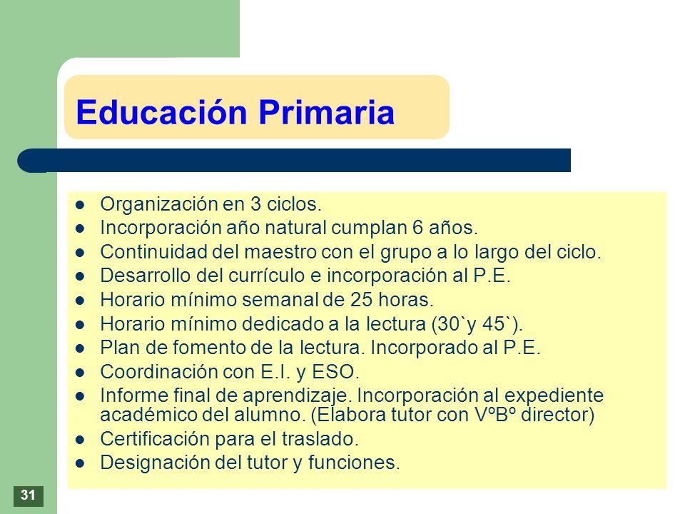 Educación Primaria Organización en 3 ciclos. Incorporación año natural cumplan 6 años. Continuidad del maestro con el grupo a lo largo del ciclo. Desa
