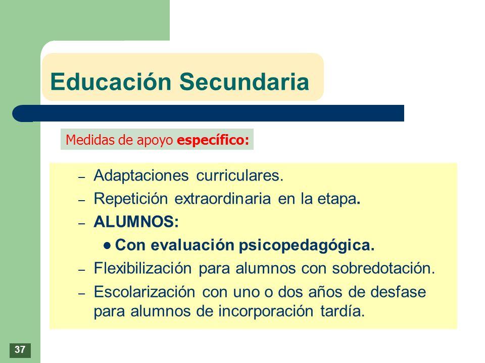Educación Secundaria – Adaptaciones curriculares. – Repetición extraordinaria en la etapa. – ALUMNOS: Con evaluación psicopedagógica. – Flexibilizació