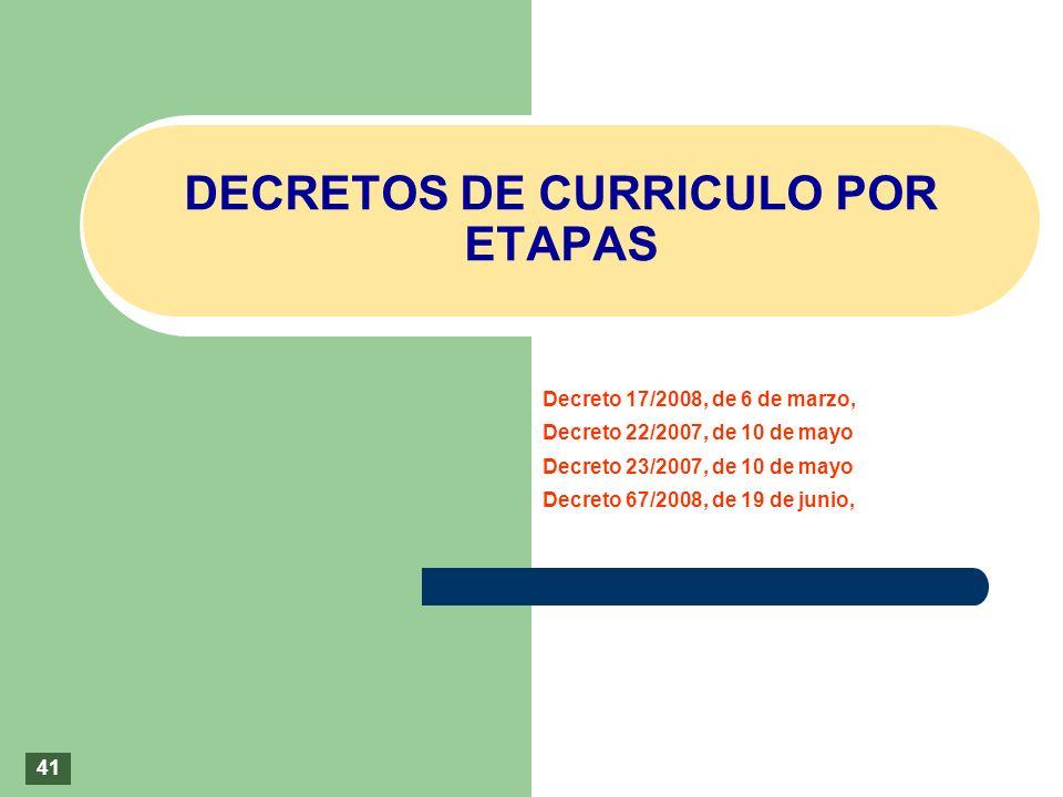 DECRETOS DE CURRICULO POR ETAPAS 41 Decreto 17/2008, de 6 de marzo, Decreto 22/2007, de 10 de mayo Decreto 23/2007, de 10 de mayo Decreto 67/2008, de