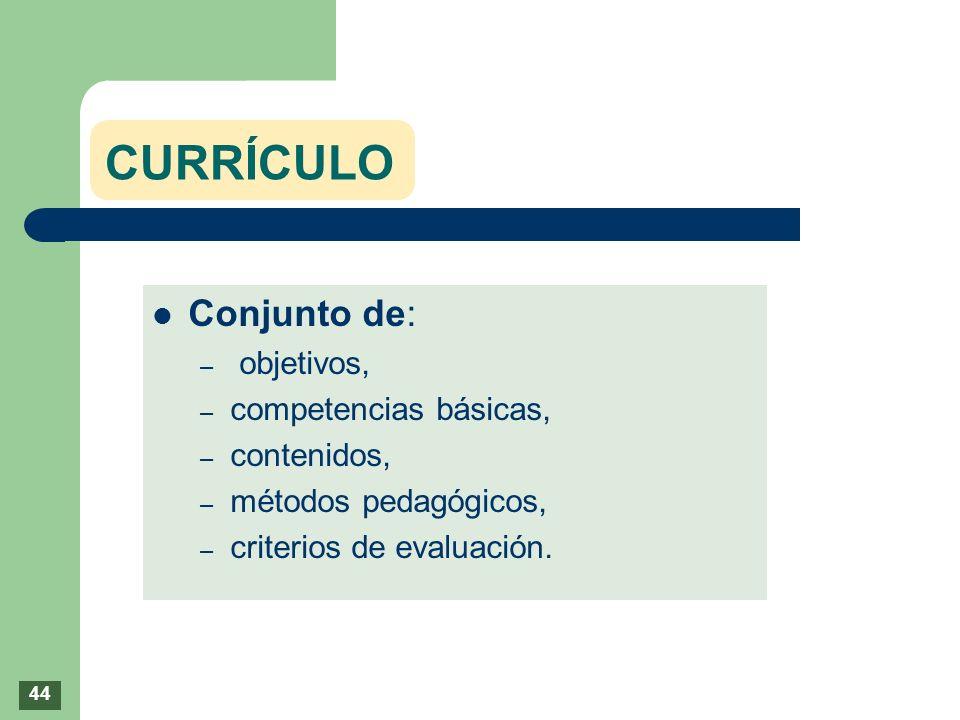 CURRÍCULO Conjunto de: – objetivos, – competencias básicas, – contenidos, – métodos pedagógicos, – criterios de evaluación. 44