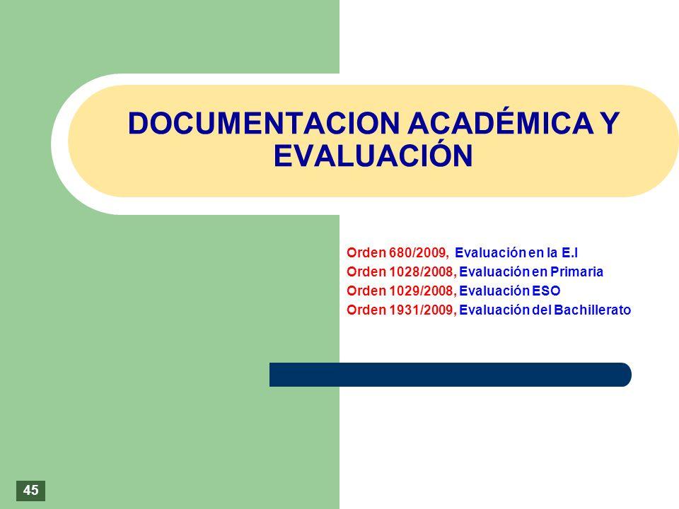 DOCUMENTACION ACADÉMICA Y EVALUACIÓN Orden 680/2009, Evaluación en la E.I Orden 1028/2008, Evaluación en Primaria Orden 1029/2008, Evaluación ESO Orde
