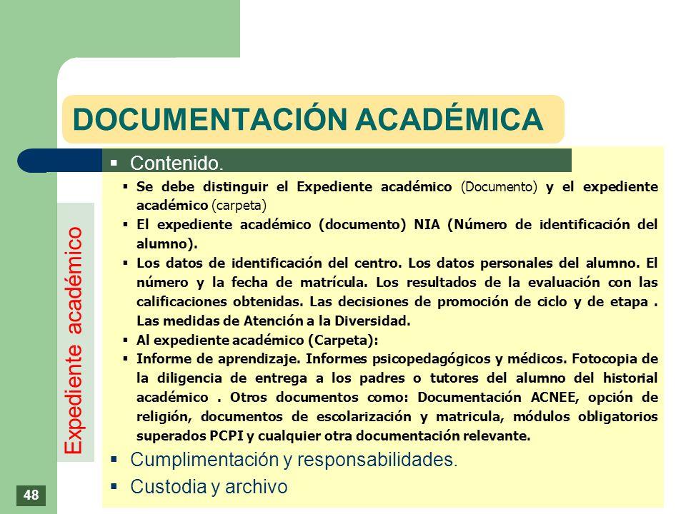 DOCUMENTACIÓN ACADÉMICA Contenido. Se debe distinguir el Expediente académico (Documento) y el expediente académico (carpeta) El expediente académico