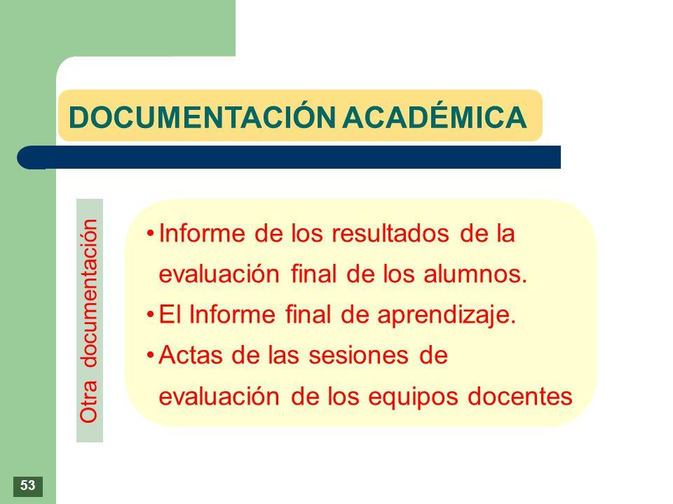 Informe de los resultados de la evaluación final de los alumnos. El Informe final de aprendizaje. Actas de las sesiones de evaluación de los equipos d