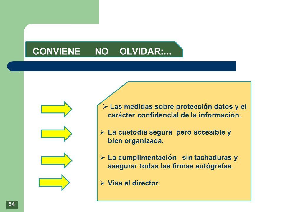 CONVIENE NO OLVIDAR:... Las medidas sobre protección datos y el carácter confidencial de la información. La custodia segura pero accesible y bien orga