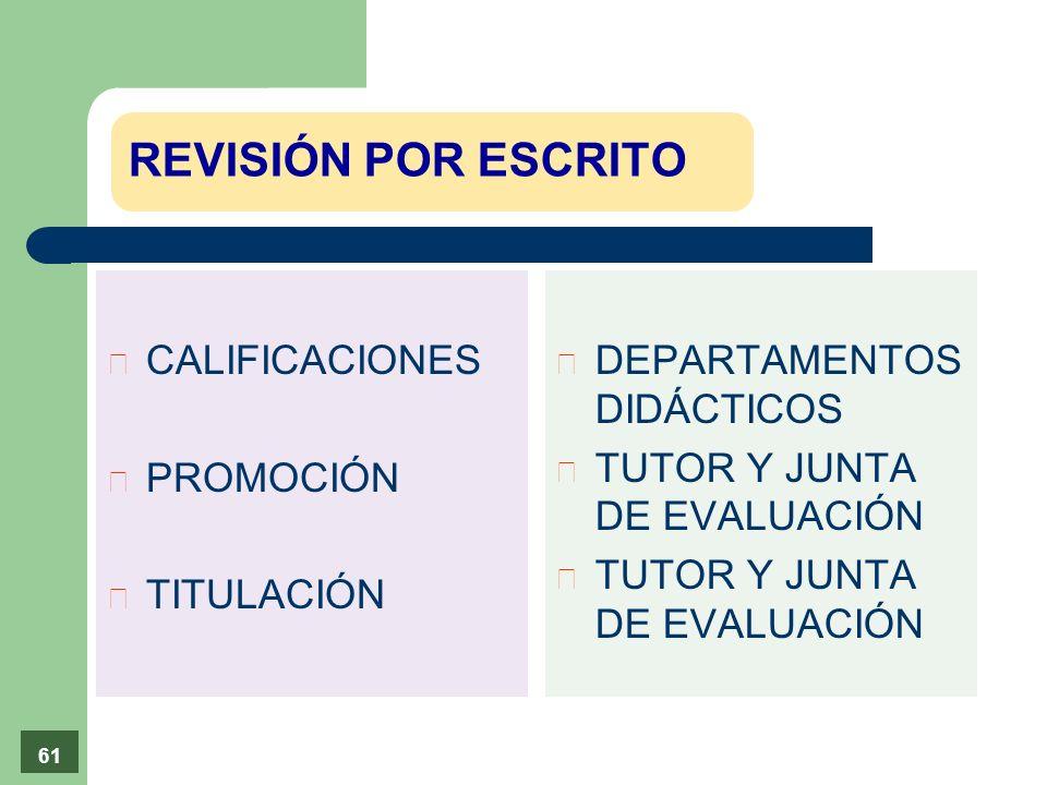 p CALIFICACIONES p PROMOCIÓN p TITULACIÓN è DEPARTAMENTOS DIDÁCTICOS è TUTOR Y JUNTA DE EVALUACIÓN 61 REVISIÓN POR ESCRITO