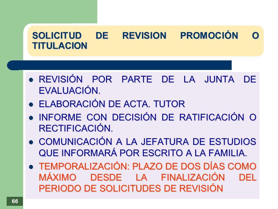 SOLICITUD DE REVISION PROMOCIÓN O TITULACION REVISIÓN POR PARTE DE LA JUNTA DE EVALUACIÓN. REVISIÓN POR PARTE DE LA JUNTA DE EVALUACIÓN. ELABORACIÓN D