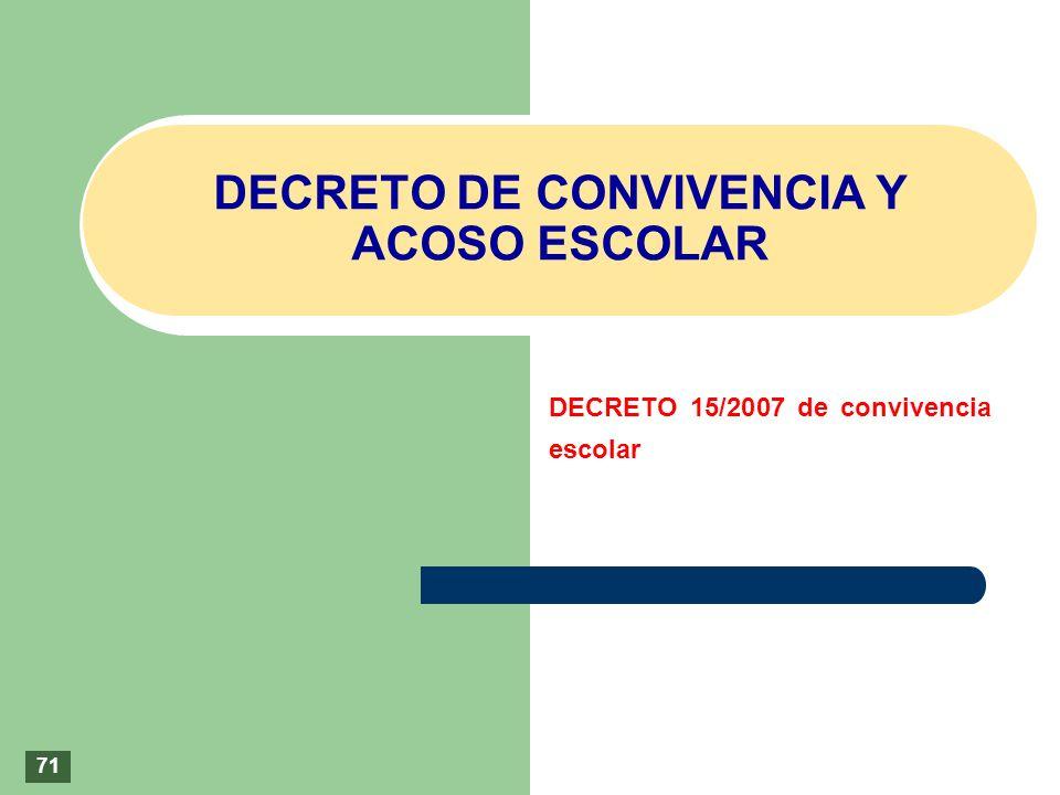 DECRETO DE CONVIVENCIA Y ACOSO ESCOLAR DECRETO 15/2007 de convivencia escolar 71