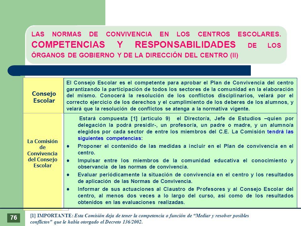 Consejo Escolar La Comisión de Convivencia del Consejo Escolar [1] IMPORTANTE: Esta Comisión deja de tener la competencia o función de Mediar y resolv