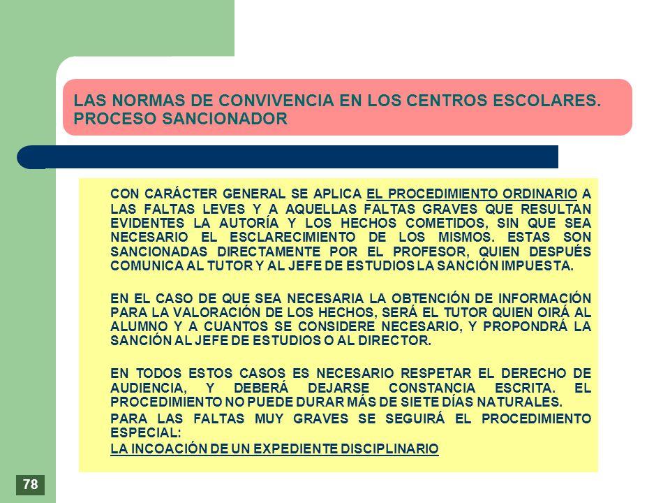 LAS NORMAS DE CONVIVENCIA EN LOS CENTROS ESCOLARES. PROCESO SANCIONADOR CON CARÁCTER GENERAL SE APLICA EL PROCEDIMIENTO ORDINARIO A LAS FALTAS LEVES Y