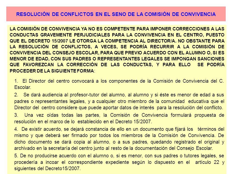 RESOLUCIÓN DE CONFLICTOS EN EL SENO DE LA COMISIÓN DE CONVIVENCIA LA COMISIÓN DE CONVIVENCIA YA NO ES COMPETENTE PARA IMPONER CORRECCIONES A LAS CONDU