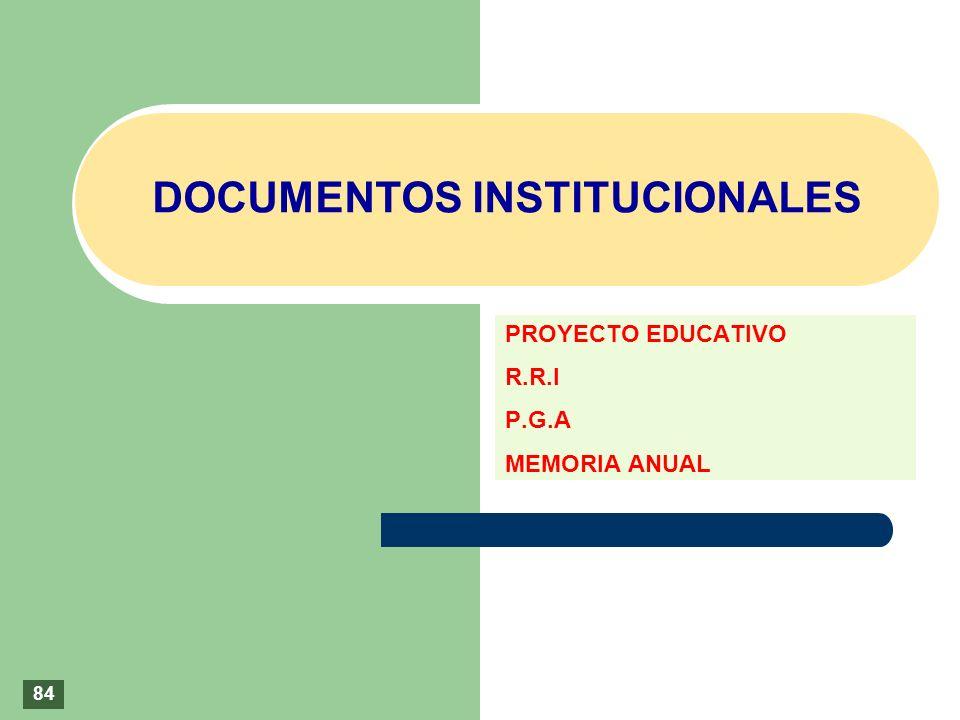 DOCUMENTOS INSTITUCIONALES PROYECTO EDUCATIVO R.R.I P.G.A MEMORIA ANUAL 84
